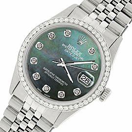 Rolex Datejust Steel 36mm Jubilee Watch/1.1CT Diamond Black MOP Dial