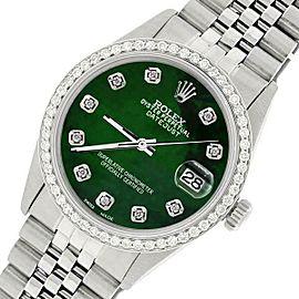 Rolex Datejust Steel 36mm Jubilee Watch/1.1CT Diamond Emerald Green Dial