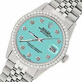 Rolex Datejust Steel 36mm Jubilee Watch/1.1CT Diamond Matt Sky Blue Dial