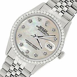 Rolex Datejust Steel 36mm Jubilee Watch/1.1CT Diamond Natural Pearl Dial