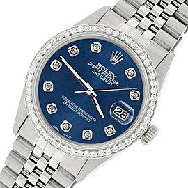 Rolex Datejust Steel 36mm Jubilee Watch/1.1CT Diamond Peacock Blue Dial