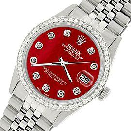 Rolex Datejust Steel 36mm Jubilee Watch/1.1CT Diamond Red MOP Dial