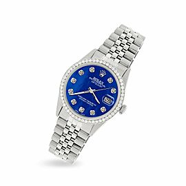 Rolex Datejust Steel 36mm Jubilee Watch/1.1CT Diamond Royal Blue MOP Dial