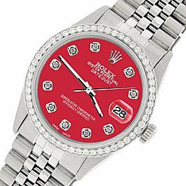 Rolex Datejust Steel 36mm Jubilee Watch/1.1CT Diamond Scarlet Red Dial