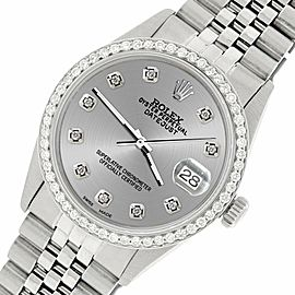 Rolex Datejust Steel 36mm Jubilee Watch/1.1CT Diamond Silver Dial