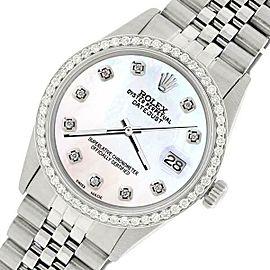 Rolex Datejust Steel 36mm Jubilee Watch/1.1CT Diamond White Pearl Dial