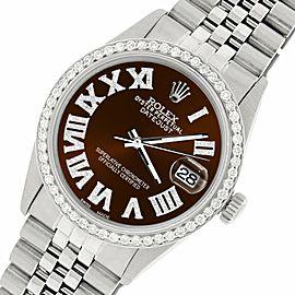 Rolex Datejust 36MM S. Steel Watch with Diamond Bezel/Chocolate Roman Dial