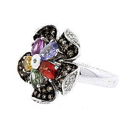 Levian Chocolate Diamond Ring Multi Color Flower sz 7.25