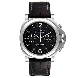 Panerai Luminor Chronograph Black Dial Steel Mens Watch