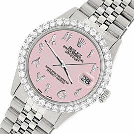 Rolex Datejust 36MM Steel Watch w/ 3.35CT Diamond Bezel/Orchid Pink Arabic Dial