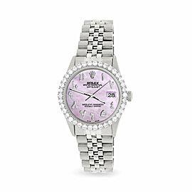 Rolex Datejust 36MM Steel Watch w/ 3.35CT Diamond Bezel/Pink Pearl Arabic Dial