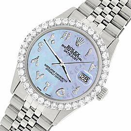 Rolex Datejust 36MM Steel Watch w/ 3.35CT Diamond Bezel/Purple MOP Arabic Dial