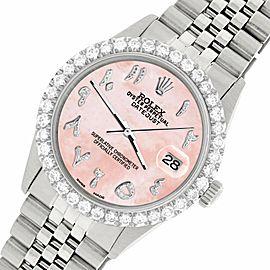 Rolex Datejust 36MM Steel Watch w/ 3.35CT Diamond Bezel/Royal Pink Arabic Dial