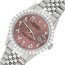 Rolex Datejust 36MM Steel Watch w/ 3.35CT Diamond Bezel/Salmon Arabic Dial
