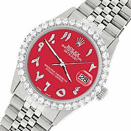 Rolex Datejust 36MM Steel Watch w/ 3.35CT Diamond Bezel/Scarlet Red Arabic Dial