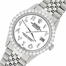 Rolex Datejust 36MM Steel Watch w/ 3.35CT Diamond Bezel/White Arabic Dial