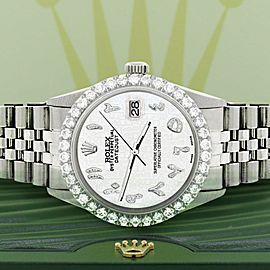 Rolex Datejust 36MM Steel Watch w/ 3.35CT Diamond Bezel/White Jubilee Dial