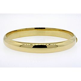 "Tiffany & Co. Bracelet Bangle 18k Yellow Gold Classic Plain 8mm wide 6.75"" Italy"