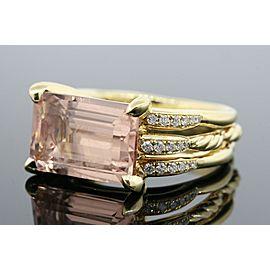 David Yurman Tides Ring Morganite Diamond 18k Yellow Gold $4500 size 5.75