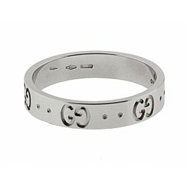 Gucci Icon thin band band ring in 18 karat white gold new in box size 6