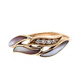 Kabana 14k Rose Gold Mother Pearl Diamond Ring Band sz 8