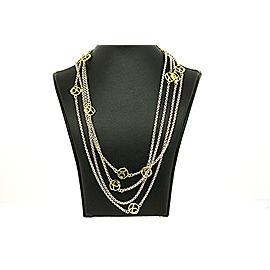 "David Yurman DY Logo Chain Necklace 18k Yellow Gold Sterling Silver Box 72"""