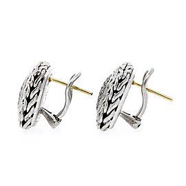 John Hardy Diamond Earrings Classic Chain Pave Square Omega Sterling 18k gold