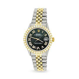 Rolex Datejust 36mm 2-Tone WATCH /3.10ct Diamond Bezel/Black Pearl Diamond Dial