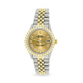 Rolex Datejust 36mm 2-Tone WATCH/3.10ct Diamond Bezel/Champagne Diamond Dial