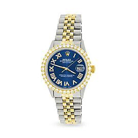 Rolex Datejust 36mm 2-Tone WATCH/3.10ct Diamond Bezel/Cobalt Blue Diamond Dial