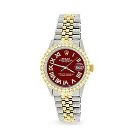 Rolex Datejust 36mm 2-Tone WATCH/3.10ct Diamond Bezel/Imperial Red Diamond Dial