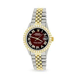 Rolex Datejust 36mm 2-Tone WATCH/3.10ct Diamond Bezel/Maroon Vignette Roman Dial