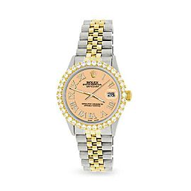Rolex Datejust 36mm 2-Tone WATCH/3.10ct Diamond Bezel/Mustard Roman Dial