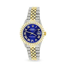 Rolex Datejust 36mm 2-Tone WATCH/3.10ct Diamond Bezel/Navy Blue Roman Dial