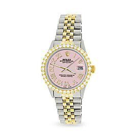 Rolex Datejust 36mm 2-Tone WATCH/3.10ct Diamond Bezel/Orchid Pink Roman Dial