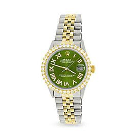Rolex Datejust 36mm 2-Tone WATCH/3.10ct Diamond Bezel/Royal Green MOP Roman Dial