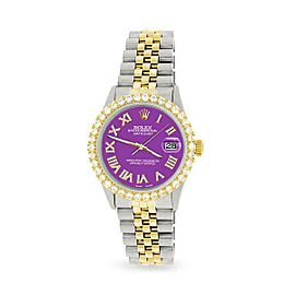 Rolex Datejust 36mm 2-Tone WATCH/3.10ct Diamond Bezel/Sangria Roman Dial