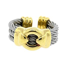 Phillipe Charriol Ring Band 18k gold Stainless Steel Cable Circle Cuff size 7