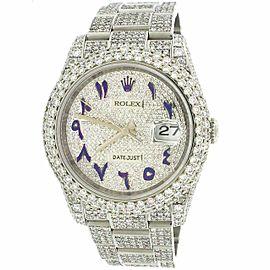 Rolex Datejust 36mm Pave Diamond Watch/16.9CT Bezel/Lugs/Bracelet/Arabic Dial