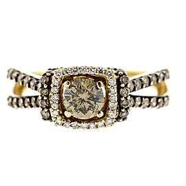 Levian 1.38ctw Diamond Engagement Ring 1/2ct Center Chocolate Halo Split sz 7.75