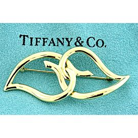 Tiffany & Co. Pin Brooch 1987 Vintage Intertwine 2 Heart Leaves 18k Yellow 11.9g