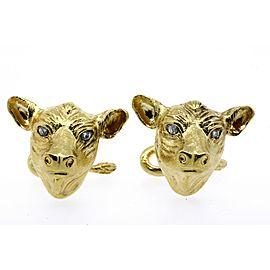 Bull Cattle Bovine Diamond Cufflinks 18k Yellow Gold Heavy 25.6g Stock Market