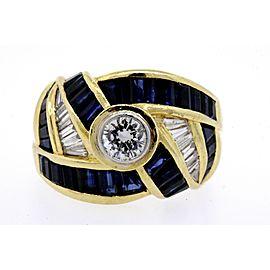 Levian .40ct Solitaire Diamond Ring Sapphire Baguette Swirl 18k Yellow Gold 6.5
