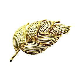 Tiffany & Co. Brooch Pin Leaf Bushel Flower Leaves 18k Gold Italy Vintage 2.5""