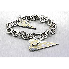 "Pianegonda Franco Sterling Silver Bracelet Yellow Enamel Hearts Chain Link 7.75"""