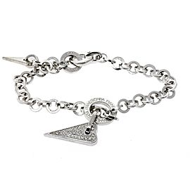 "Pianegonda Franco Diamond Heart Bracelet Sterling Silver Chain Link 8"""