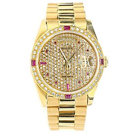 Rolex President Day-Date 36mm Yellow Gold Watch with Pave Diamond Dial/Bezel