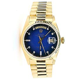 Rolex President Day-Date 36mm Yellow Gold Vignette Blue Diamond Dial Watch