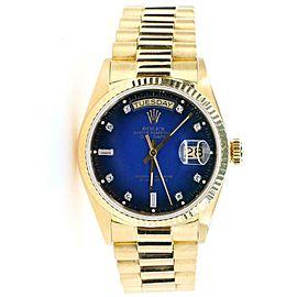 Rolex President Day-Date 36mm Yellow Gold Vignette Blue Diamond Dial Watch