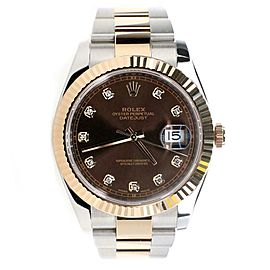 Rolex Datejust 41MM 2-Tone Oyster Factory Chocolate Diamond Dial 126331